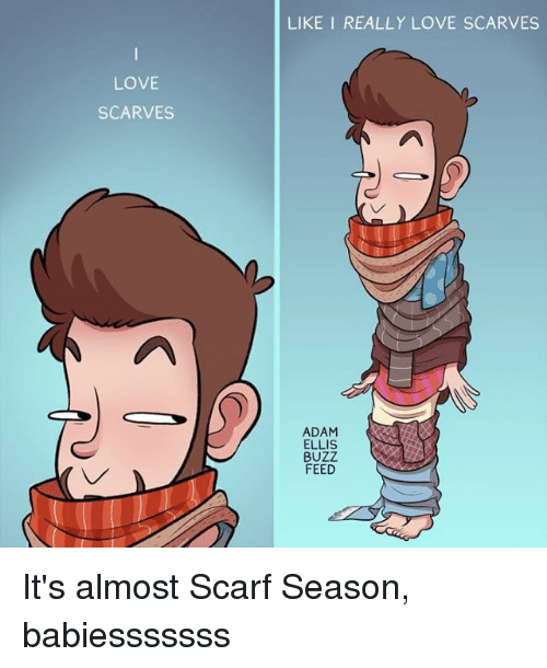 Love, Memes, and 🤖: LIKE I REALLY LOVE SCARVES  LOVE  SCARVES  ADAM  ELLIS  BUZZ  FEED It's almost Scarf Season, babiesssssss