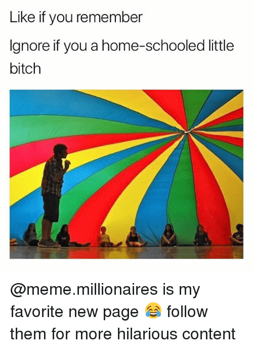 Bitch, Meme, and Home: Like if you remember  Ignore if you a home-schooled little  bitch @meme.millionaires is my favorite new page 😂 follow them for more hilarious content