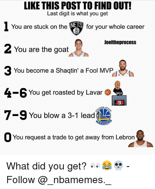 Memes, Goat, and Lebron: LIKE THIS POST TO FIND OUT!  Last digit is what you get  1 You are stuck on the▼  2 You are the goat  NETS  for your whole career  Joeltheprocess  You become a Shaqtin' a Fool MVP  4-6 You get roasted by Lavar .  7-9 You blow a 3-1 lead  ARR  O You request a trade to get away from Lebron What did you get? 👀😂💀 - Follow @_nbamemes._