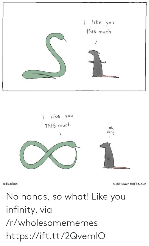 Infinity, Com, and Via: like  you  this much  | like you  oh,  THIS much  dang  1.  thelittleworld ofliz.com  © liz climo No hands, so what! Like you infinity. via /r/wholesomememes https://ift.tt/2QvemIO