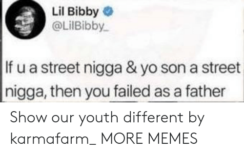 Dank, Lil Bibby, and Memes: Lil Bibby  @LilBibby  If u a street nigga & yo son a street  nigga, then you failed as a father Show our youth different by karmafarm_ MORE MEMES