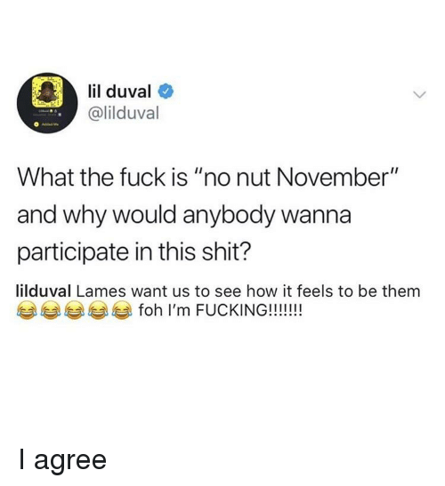 "Blackpeopletwitter, Funny, and Lil Duval: lil duval  @lilduval  What the fuck is ""no nut November""  and why would anybody wanna  participate in this shit?  lilduval Lames want us to see how it feels to be them"