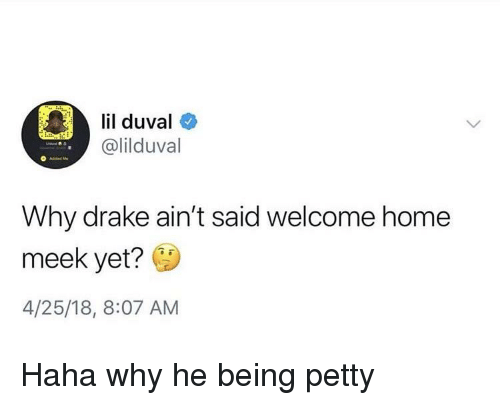 Blackpeopletwitter, Drake, and Funny: lil duval  @lilduval  Why drake ain't said welcome home  meek yet?  4/25/18, 8:07 AM