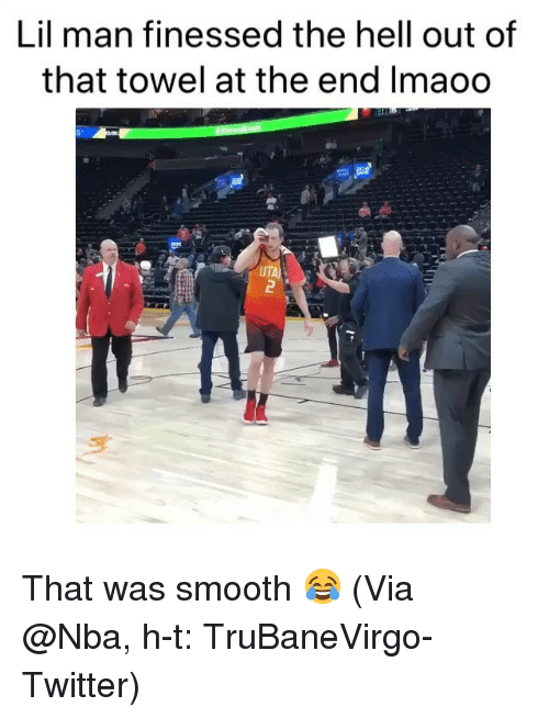 Basketball, Nba, and Smooth: Lil man finessed the hell out of  that towel at the end Imaoo  UTA That was smooth 😂 (Via @Nba, h-t: TruBaneVirgo-Twitter)