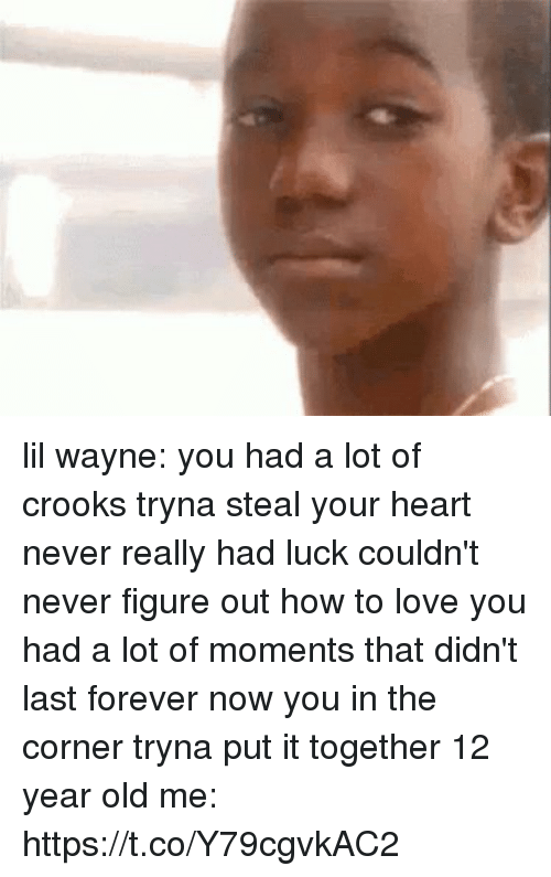 Funny, Lil Wayne, and Love: lil wayne: you had a lot of crooks tryna steal your heart never really had luck couldn't never figure out how to love you had a lot of moments that didn't last forever now you in the corner tryna put it together   12 year old me: https://t.co/Y79cgvkAC2