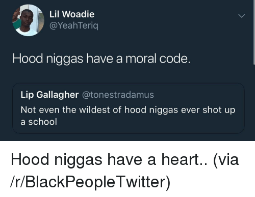 Blackpeopletwitter, School, and Heart: Lil Woadie  @YeahTeriq  Hood niggas have a moral code.  Lip Gallagher @tonestradamus  Not even the wildest of hood niggas ever shot up  a school <p>Hood niggas have a heart.. (via /r/BlackPeopleTwitter)</p>