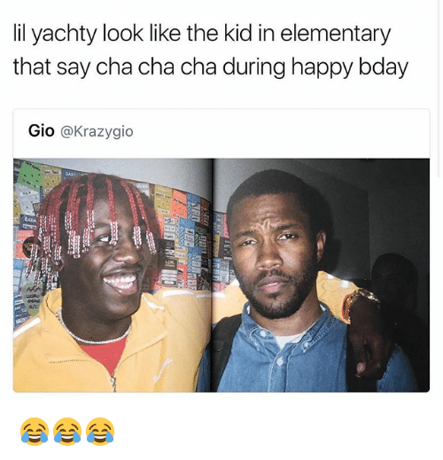 Funny, Elementary, and Happy: lil yachty look like the kid in elementary  that say cha cha cha during happy bday  Gio  @Krazygio 😂😂😂