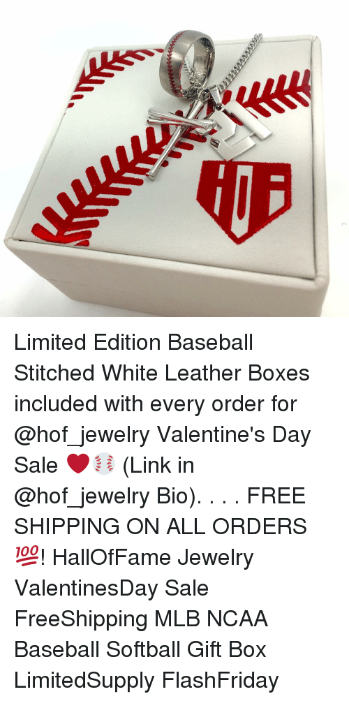 Baseball, Mlb, and Stitches: Limited Edition Baseball Stitched White Leather Boxes included with every order for @hof_jewelry Valentine's Day Sale ❤️⚾️ (Link in @hof_jewelry Bio). . . . FREE SHIPPING ON ALL ORDERS 💯! HallOfFame Jewelry ValentinesDay Sale FreeShipping MLB NCAA Baseball Softball Gift Box LimitedSupply FlashFriday