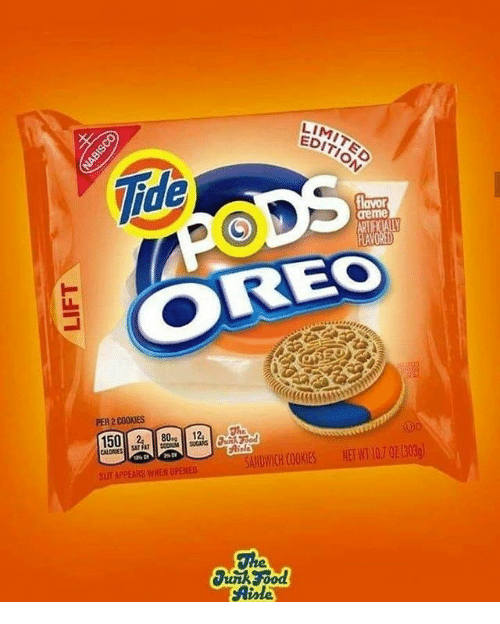 Cookies, Memes, and Limited: LIMITED  EDITION  reme  OREO  PER 2 COOKIES  Aisle  SANDWICH COOKIES NETWI 107 02 1303  SLUT APPEARS WHEN OPERE  0%