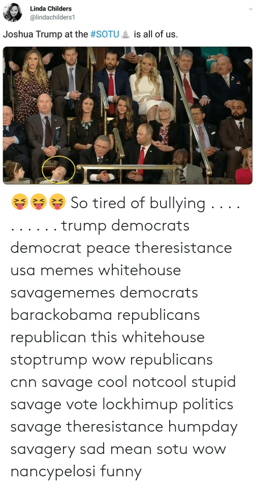 cnn.com, Funny, and Memes: Linda Childers  @lindachilders1  Joshua Trump at the #SOTU  is all of us. 😝😝😝 So tired of bullying . . . . . . . . . . trump democrats democrat peace theresistance usa memes whitehouse savagememes democrats barackobama republicans republican this whitehouse stoptrump wow republicans cnn savage cool notcool stupid savage vote lockhimup politics savage theresistance humpday savagery sad mean sotu wow nancypelosi funny