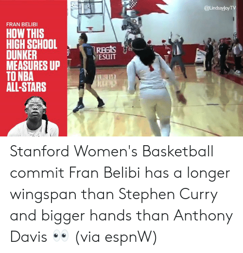 Basketball, Memes, and Nba: @Lindsayloy  FRAN BELIBI  HOW THIS  HIGH SCHOOL  - Reas  DUNKER  MEASURES UP  TO NBA  ALL-STARS  TESUIT Stanford Women's Basketball commit Fran Belibi has a longer wingspan than Stephen Curry and bigger hands than Anthony Davis  👀  (via espnW)