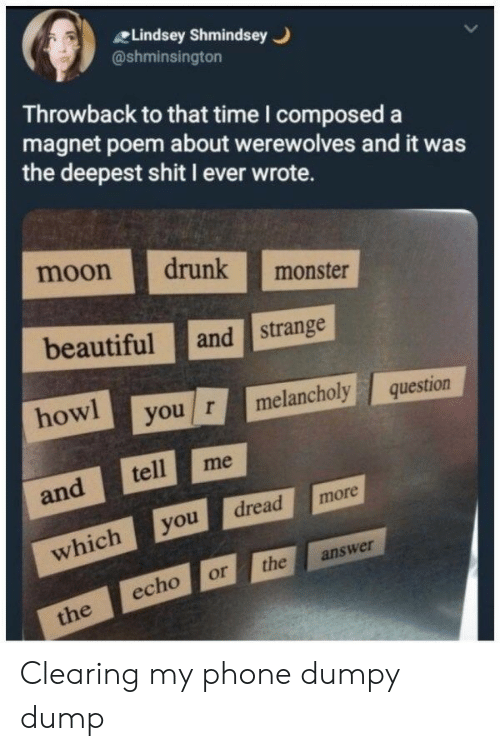 Beautiful, Drunk, and Monster: Lindsey Shmindsey  @shminsington  Throwback to that time I composed a  magnet poem about werewolves and it was  the deepest shit I ever wrote.  moon drunk monster  beautiful and strange  howl you rmelancholy question  and tellm  whichyodread more  echo or the answer Clearing my phone dumpy dump