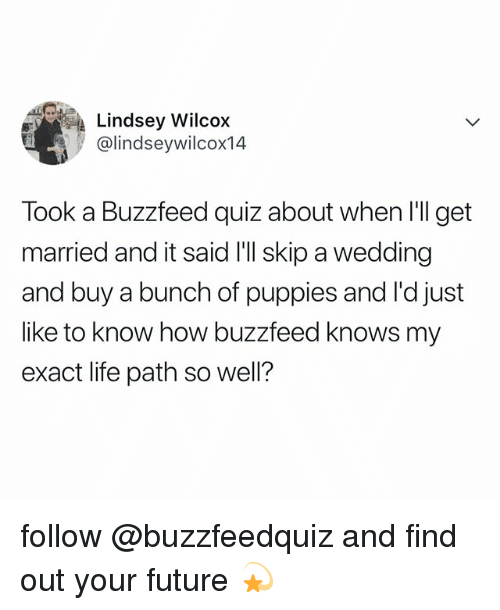 Future, Life, and Puppies: Lindsey Wilcox  @lindseywilcox14  Took a Buzzfeed quiz about when I'll get  married and it said I'l skip a wedding  and buy a bunch of puppies and l'd just  like to know how buzzfeed knows my  exact life path so wel? follow @buzzfeedquiz and find out your future 💫