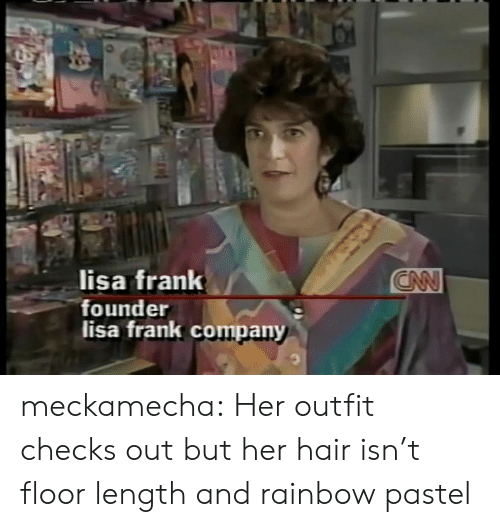 Tumblr, Blog, and Hair: lisa frank  founder  lisa frank company meckamecha: Her outfit checks out but her hair isn't floor length and rainbow pastel
