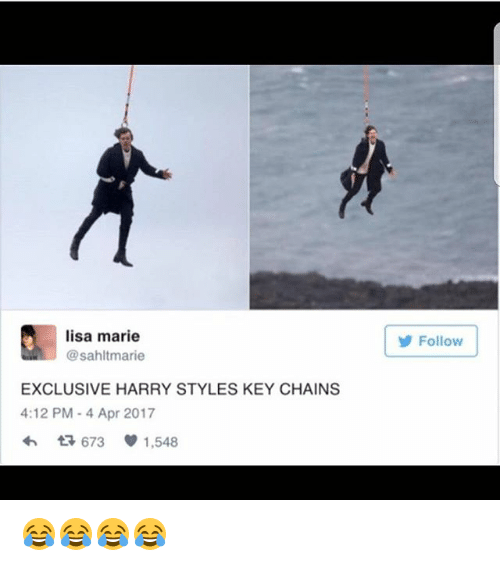 Memes, Harry Styles, and 🤖: lisa marie  @sahltmarie  Follow  EXCLUSIVE HARRY STYLES KEY CHAINS  4:12 PM -4 Apr 2017  わ 673 U 1,548 😂😂😂😂