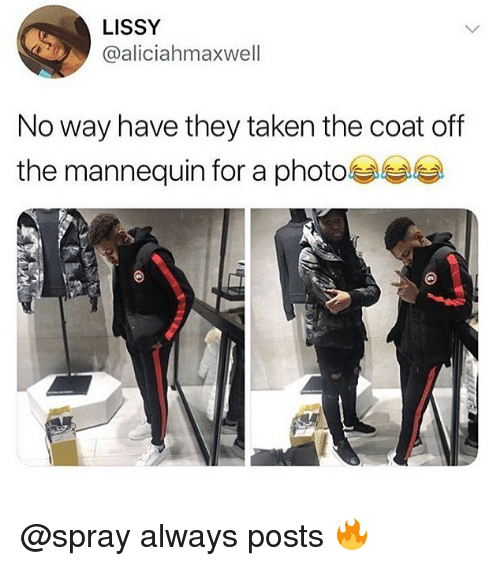 Memes, Taken, and Mannequin: LISSY  @aliciahmaxwell  No way have they taken the coat off  the mannequin for a photo @spray always posts 🔥