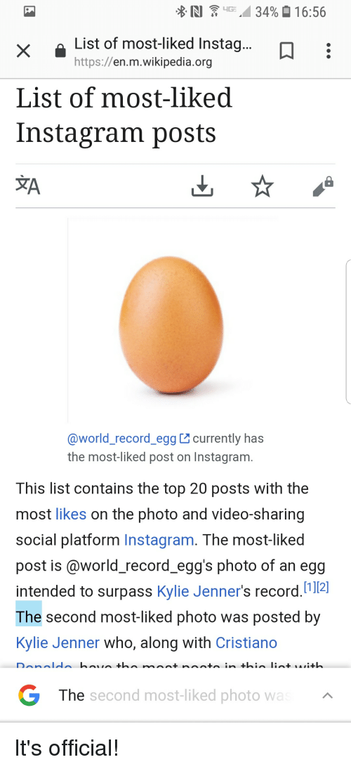 Instagram, Kylie Jenner, and Reddit: List of most-liked Instag  https://en.m.wikipedia.org  List of most-liked  Instagram posts  XA  @world_record_egg currently has  the most-liked post on Instagram  This list contains the top 20 posts with the  most likes on the photo and video-sharing  social platform Instagram. The most-liked  post is (@world record egg's photo of an egg  intended to surpass Kylie Jenner's record.112]  The second most-liked photo was posted by  Kylie Jenner who, along with Cristiano  The  second most-liked photo wa It's official!