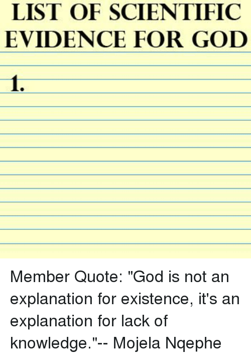 LIST OF SCIENTIFIC EVIDENCE FOR GOD 60 Member Quote God Is Not An Inspiration Quote List