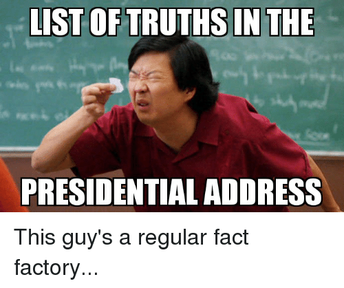 Politics, List, and Factory: LIST OF TRUTHS IN THE  PRESIDENTIAL ADDRESS