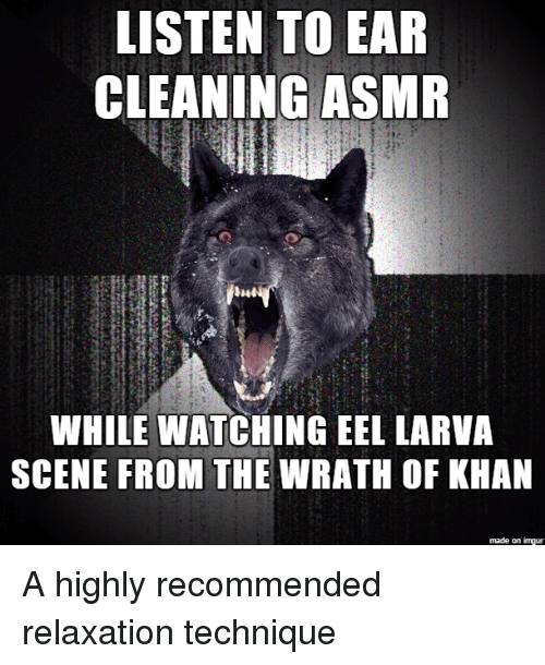 Imgur, Advice Animals, and Asmr: LISTEN TO EAR  CLEANING ASMR  WHILE WATCHINGEEL LARVA  SCENE FROM THE  WRATH OF KHAN  made on imgur A highly recommended relaxation technique