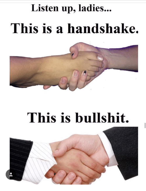 Listen Up Ladies This Is a Handshake This Is Bullshit