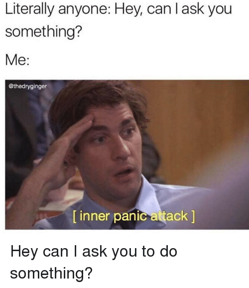 The Office, Ask, and Can: Literally anyone: Hey, can l ask you  something?  Me:  @thedryginger  [ inner panic attack ]