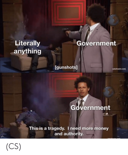 Memes, Money, and Government: Literally  anything  Government  Igunshots]  [adultswim com)  Government  This is a tragedy. I need more money  and authority (CS)