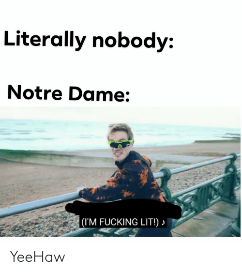 Fucking, Lit, and Notre Dame: Literally nobody:  Notre Dame:  (IM FUCKING LIT!) YeeHaw