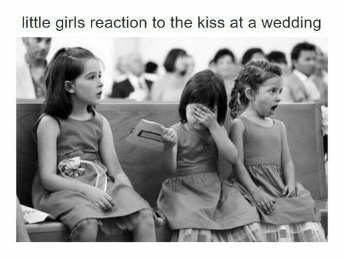 Girls, Kiss, and Wedding: little girls reaction to the kiss at a wedding
