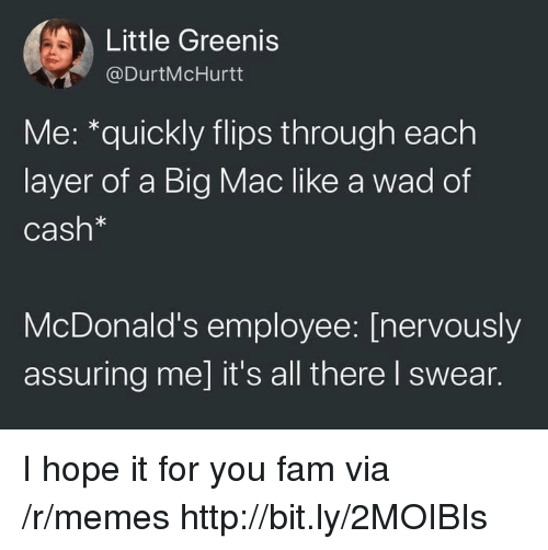 Fam, McDonalds, and Memes: Little Greenis  @DurtMcHurtt  Me: *quickly flips through each  layer of a Big Mac like a wad of  Cash*  McDonald's employee: [nervously  assuring me] it's all there I swear. I hope it for you fam via /r/memes http://bit.ly/2MOIBIs