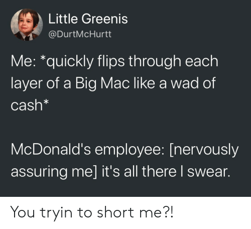 McDonalds, A Big Mac, and Mac: Little Greenis  @DurtMcHurtt  Me: *quickly flips through each  layer of a Big Mac like a wad of  Cash*  McDonald's employee: [nervously  assuring me] it's all there l swear. You tryin to short me?!