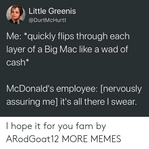 Dank, Fam, and McDonalds: Little Greenis  @DurtMcHurtt  Me: *quickly flips through each  layer of a Big Mac like a wad of  Cash*  McDonald's employee: [nervously  assuring me] it's all there I swear. I hope it for you fam by ARodGoat12 MORE MEMES