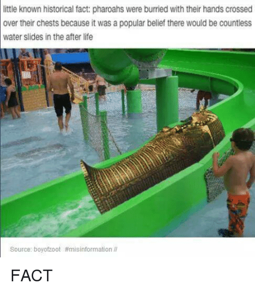 Facts, Life, and Cross: little known historical fact: pharoahs  were burried with their hands crossed  over their chests because it was a popular belief there would be countless  water slides in the after life  Source: boy ofzoot FACT