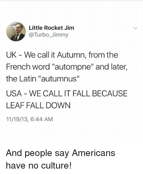 "Fall, Word, and Girl Memes: Little Rocket Jim  @Turbo_Jimmy  UK - We call it Autumn, from the  French word ""autompne"" and later,  the Latin ""autumnus""  USA WE CALL IT FALL BECAUSE  LEAF FALL DOWN  11/19/13, 6:44 AM And people say Americans have no culture!"