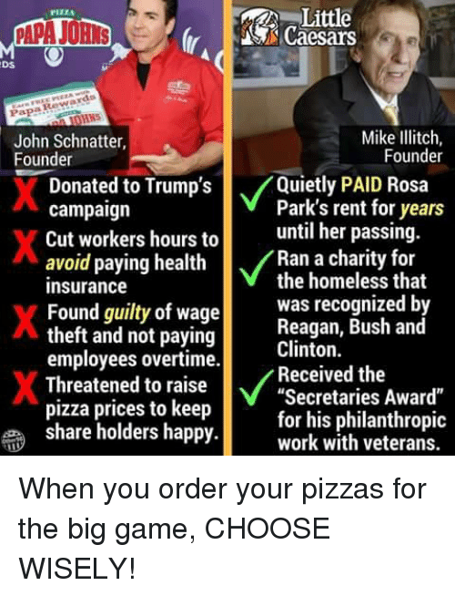 "Homeless, Pizza, and Rosa Parks: Little  S Caesars  PIZZA  Ds  Papa Rewards  John Schnatter,  Founder  Mike Ilitch,  Founder  Donate  d to Trump's  /Quietly PAID Rosa  Park's rent for years  campaign  Cut workers hours tountil her passing  avoid paying health  insurance  Found guilty of wage  theft and not paying  employees overtime.  Threatened to raise  pizza prices to keep  share holders happy  Ran a charity for  the homeless that  was recognized b  Reagan, Bush and  Clinton.  Received the  Secretaries Award""  for his philanthropic  work with veterans. When you order your pizzas for the big game, CHOOSE WISELY!"