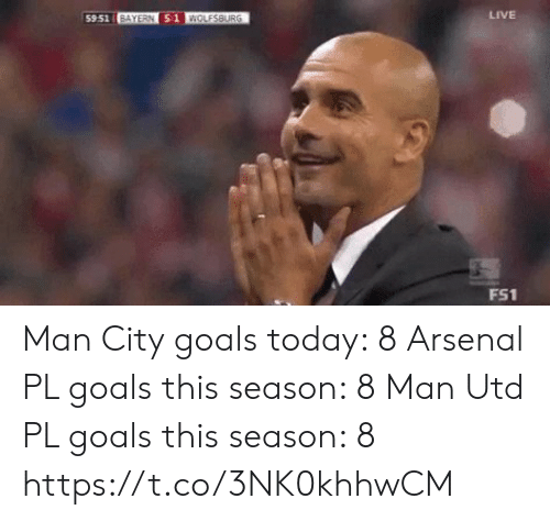 Arsenal, Goals, and Soccer: LIVE  59.51 BAYERN 51 WOLESBURG  FS1 Man City goals today: 8  Arsenal PL goals this season: 8  Man Utd PL goals this season: 8 https://t.co/3NK0khhwCM
