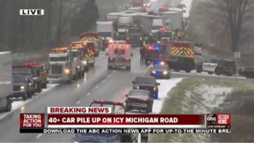 LIVE BREAKING NEWS TION 40+ CAR PILE UP ON ICY MICHIGAN ROAD
