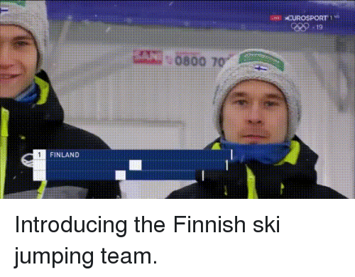 Live, Finland, and Team: LIVE EUROSPORT!  929-19  0800 70  FINLAND Introducing the Finnish ski jumping team.