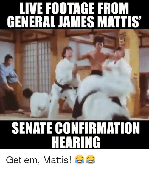 Memes, Generalization, and James Mattis: LIVE FOOTAGE FROM  GENERAL JAMES MATTIS  SENATE CONFIRMATION  HEARING Get em, Mattis! 😂😂