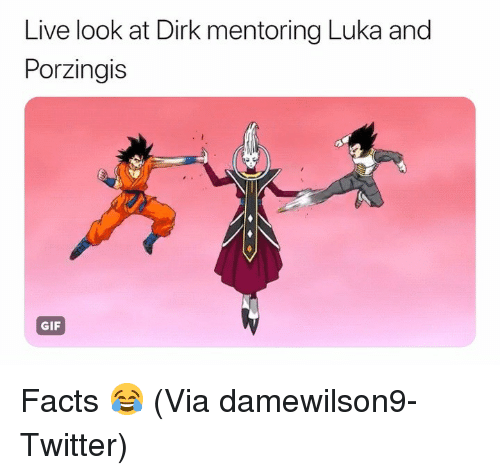 Basketball, Facts, and Gif: Live look at Dirk mentoring Luka and  Porzingis  GIF Facts 😂 (Via ‪damewilson9‬-Twitter)