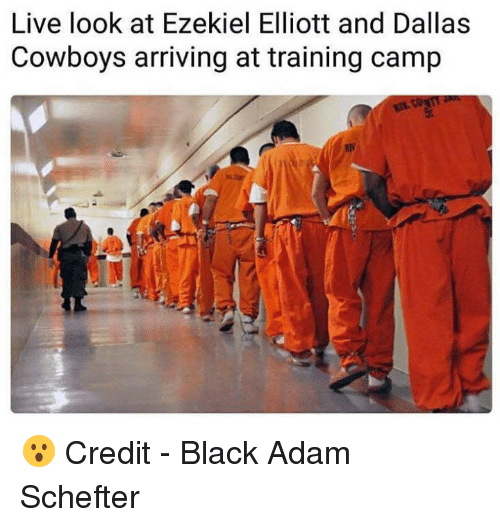 Dallas Cowboys, Nfl, and Dallas Cowboys: Live look at Ezekiel Elliott and Dallas  Cowboys arriving at training camp 😮  Credit - Black Adam Schefter