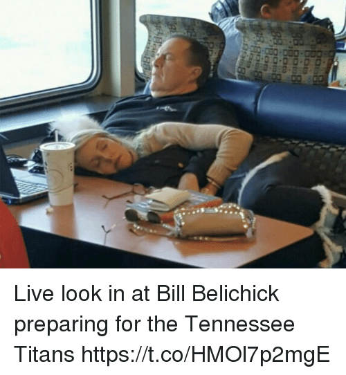 Bill Belichick, Football, and Nfl: Live look in at Bill Belichick preparing for the Tennessee Titans https://t.co/HMOl7p2mgE