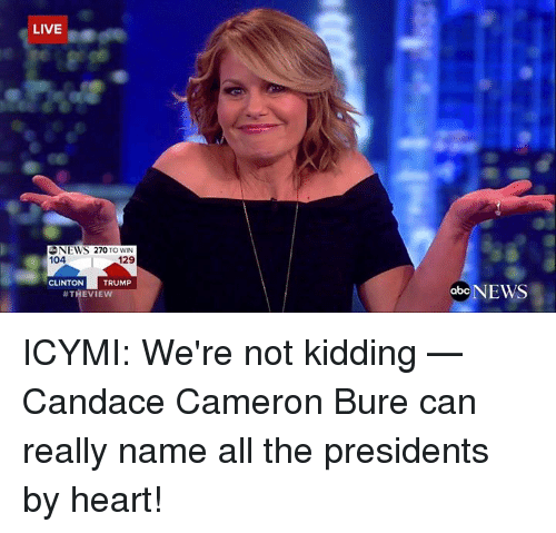 Abc, Memes, and Abc News: LIVE  NEWS 270 TO WIN  104  129  CLINTON  TRUMP  #THEVIE  abc  NEWS ICYMI: We're not kidding — Candace Cameron Bure can really name all the presidents by heart!