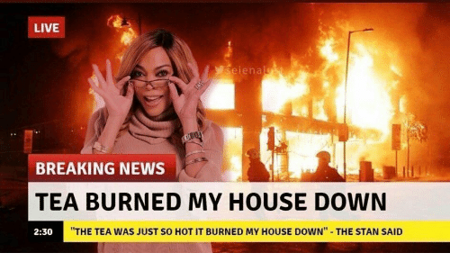 "My House, News, and Stan: LIVE  seienalst  BREAKING NEWS  TEA BURNED MY HOUSE DOWN  ""THE TEA WAS JUST SO HOT IT BURNED MY HOUSE DOWN""  THE STAN SAID  2:30"