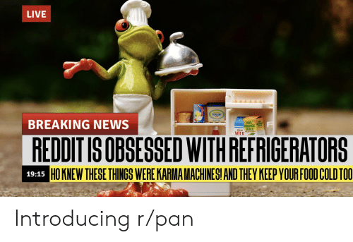 Food, Fresh, and Funny: LIVE  YOGURT  MILL  BREAKING NEWS  100%  ORANGE CE  FRESH JUICE  MILK  REDDIT IS OBSESSED WITH REFRIGERATORS  HOKNEW THESE THINGS WERE KARMA MACHINESI AND THEY KEEP YOUR FOOD COLD TOO  19:15 Introducing r/pan