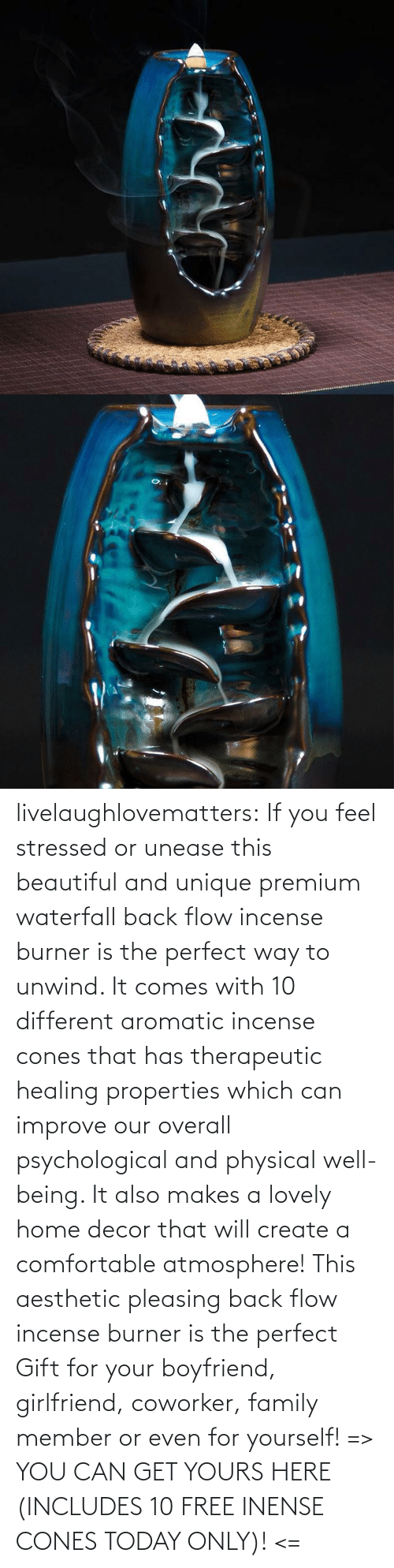 Beautiful, Comfortable, and Family: livelaughlovematters: If you feel stressed or unease this beautiful and unique premium waterfall back flow incense burner is the perfect way to unwind. It comes with 10 different aromatic incense cones that has therapeutic healing properties which can improve our overall psychological and physical well-being. It also makes a lovely home decor that will create a comfortable atmosphere! This aesthetic pleasing back flow incense burner is the perfect Gift for your boyfriend, girlfriend, coworker, family member or even for yourself! => YOU CAN GET YOURS HERE (INCLUDES 10 FREE INENSE CONES TODAY ONLY)! <=