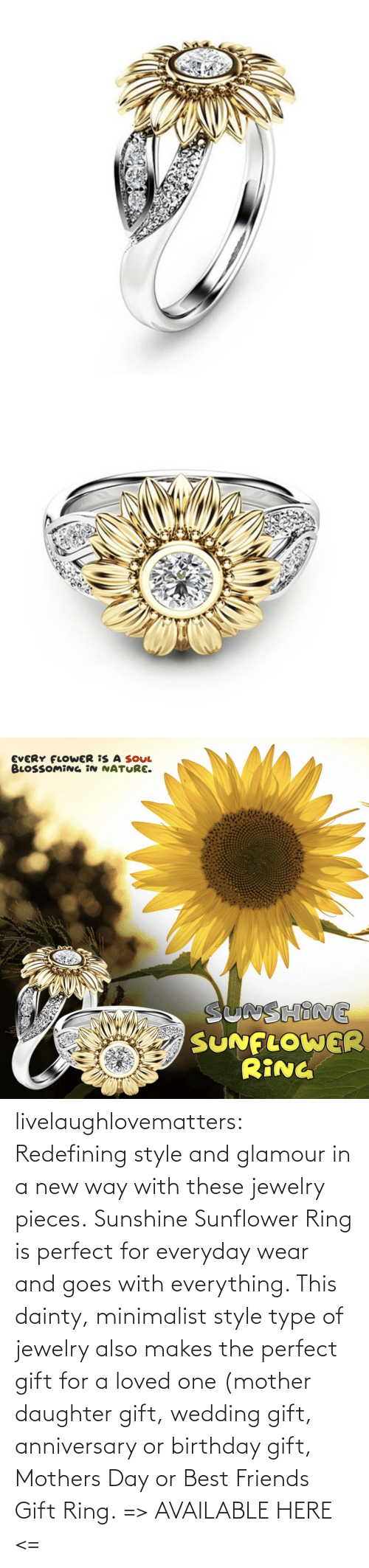 Birthday, Friends, and Mother's Day: livelaughlovematters:  Redefining style and glamour in a new way with these jewelry pieces. Sunshine Sunflower Ring is perfect for everyday wear and goes with everything. This dainty, minimalist style type of jewelry also makes the perfect gift for a loved one (mother daughter gift, wedding gift, anniversary or birthday gift, Mothers Day or Best Friends Gift Ring. => AVAILABLE HERE <=