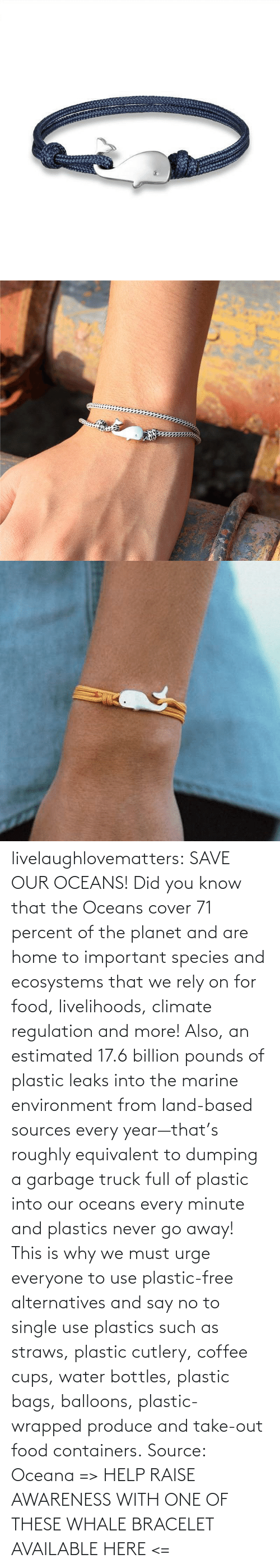 Food, Gif, and Tumblr: livelaughlovematters: SAVE OUR OCEANS!  Did you know that theOceans cover 71 percent of the planet and are home to important species and ecosystems that we rely on for food, livelihoods, climate regulation and more! Also, an estimated 17.6 billion pounds of plastic leaks into the marine environment from land-based sources every year—that's roughly equivalent to dumping a garbage truck full of plastic into our oceans every minute and plastics never go away! This is why we must urge everyone to useplastic-free alternatives and say no to single use plastics such as straws, plastic cutlery, coffee cups, water bottles, plastic bags, balloons, plastic-wrapped produce and take-out food containers. Source: Oceana => HELP RAISE AWARENESS WITH ONE OF THESE WHALE BRACELET AVAILABLE HERE <=