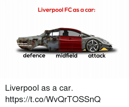 Memes, Liverpool F.C., and 🤖: Liverpool FC as a car:  TrollFootball  TrollFootball Insta  defence midfield attack Liverpool as a car. https://t.co/WvQrTOSSnQ