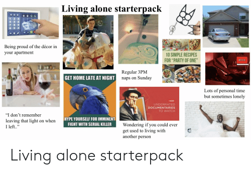 "Being Alone, Hype, and Party: Living alone starterpack  1 2 3  4 5 6  Being proud of the décor in  your apartment  10 SIMPLE RECIPES  FOR ""PARTY OF ONE""  NETFLİ  Regular 3PM  naps on Sundav  GET HOME LATE AT NIGHT  Lots of personal time  but sometimes lonely  ADD  UNDERRATED  DOCUMENTARIES  TO WATCH  ""I don't remember  leaving that light on when  I left.  HYPE YOURSELF FOR IMMINENT  FIGHT WITH SERIAL KILLER  Wondering if you could ever  get used to living with  another person Living alone starterpack"